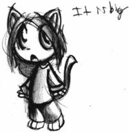 author_indifferent chibi deformed doodle feline felyne ink ink_sketch kibrosian Kilo male monologue open_mouth pencil pencil_sketch sketch text // 472x484 // 23.6KB