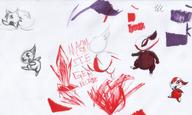 androgynous arrow blade brush colour critter doodle fang fire gem ice long_ears magma monster open_mouth pencil pencil_sketch Red sketch tiny tooth what wolf // 2819x1687 // 991.8KB