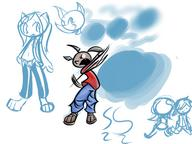 action canidae colour digital doodle fang felyne fox grin Half long_ears long_muzzle male motion open_mouth open_shirt Paint_Tool_Sai partially_dressed ponytail sandles silly swing tooth unfastened_clothes unidentified_character what // 1024x768 // 422.4KB