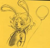 balloons Bunni doodle female ink ink_sketch long_ears Luna open_mouth sketch yellow // 1169x1116 // 130.0KB