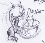 cake candles claws Cohort Dragonne horns ink ink_sketch kibrosian male OMNOMS sitting sketch // 625x608 // 77.7KB