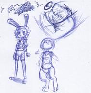 bottomless Bunni doodle featureless_crotch female ink ink_sketch kibrosian long_ears Luna Ribbons shorts sketch // 1362x1380 // 352.1KB