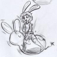 balloons balloon_riding balloon_sitting balloon_straddling Bunni female fluffy_tail ink ink_sketch kibrosian long_ears Luna pencil pencil_sketch shorts sketch // 1180x1180 // 274.2KB