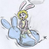 balloons balloon_riding balloon_sitting balloon_straddling Bunni colored colour digital_color female fluffy_tail ink_sketch kibrosian long_ears Luna pencil_sketch shorts sketch // 1180x1180 // 1.7MB