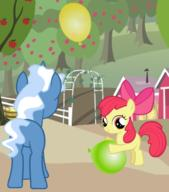 Apple_Bloom MLPFiM Pokey_Pierce balloons butt plot // 304x345 // 111.8KB