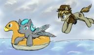 Equestrian_Dawn FireAlpaca Misty_Morning Trail_Blazer alternate_version author_gift clouds colour cutie_mark digital inflatable_duck pooltoy revision sky water // 968x572 // 349.1KB