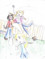 author_indifferent background blonde_hair carrying colour fence grass green_eyes Half Ken Kim Luna Maribelle Meon pool toony // 633x821 // 653.2KB