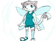 3 author_like blue_eyes digital_sketch fairy felyne fluffy_tail request sandals shorts silver_hair tail_ring Unnamed_character wings // 800x600 // 89.3KB