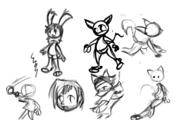 action_pose author_indifferent bent_over Bunni digital_sketch doodle felyne fluffy_tail Kitishik long_ears shorts silly // 640x400 // 64.7KB