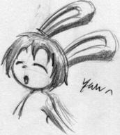 author_indifferent Bunni closed_eyes long_ears open_mouth pencil_sketch Tori yawn // 348x388 // 18.5KB