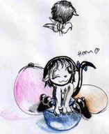 3 author_fancy author_like balloons bow chestfluff female Focomi hee ink_sketch Miadren s2p sitting skirt straddle  // 549x671 // 17.1KB