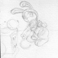 author_like balloons bent_over cabinet fluffy_tail Jewels long_ears maid open_mouth pencil_sketch // 1040x1032 // 99.6KB